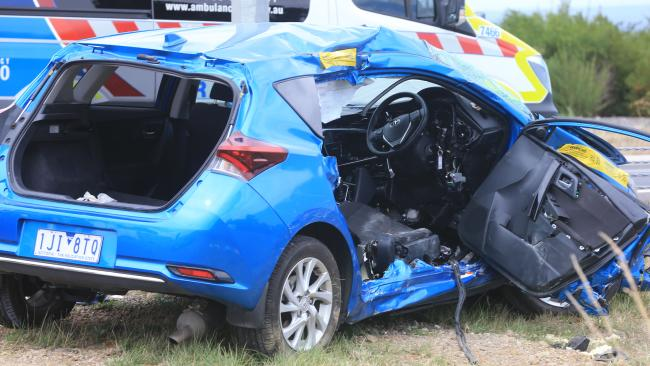 Two car collision involving tourists on the corner of Cape Otway Road and Princes Freeway, Mt Moriac. Picture: Peter Ristevski