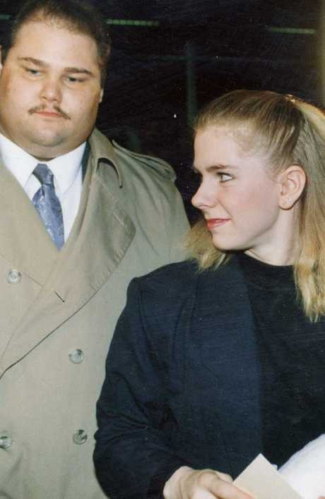Tonya Harding, right, with her bodyguard Shawn Eckardt, pictured in 1994. Picture: AP