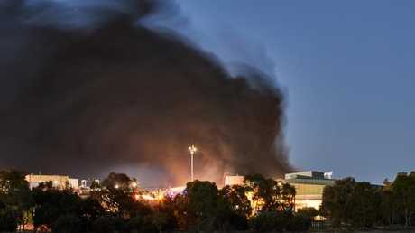 The huge fire at Thomas Foods International outside Murray Bridge. AAP Image/MATT LOXTON