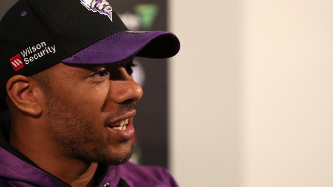 Hurricanes fast bowler Tymal Mills giving a press conference at Blundstone Arena. Picture: SAM ROSEWARNE.