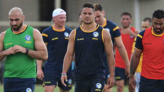 The first official training session for 2018 Eels recruit Jarryd Hayne 3 -01-2017. Following the conclusion of training at 2:45pm, Jarryd will hold a media conference to discuss his return to the Eels for 2018. (NEWS CORP/Simon Bullard)
