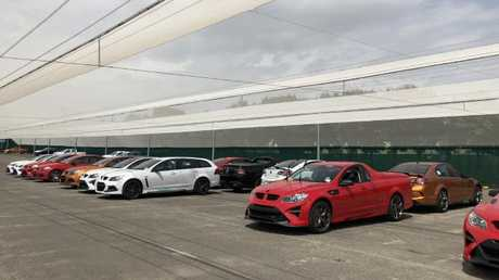 Completed HSV cars ready to be trucked to Holden dealers. Picture: Joshua Dowling.