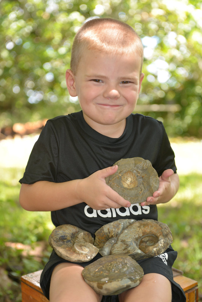 HISTORIC: Blake McKay, 4, stumbled across some fossils when he smashed two rocks open.
