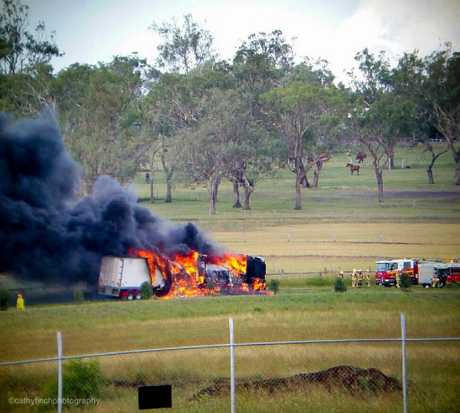 Cathy Finch snapped this photo of a truck on fire on the Toowoomba Cecil Plains Road.