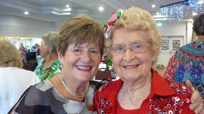 Desley Grainger and Elaine Hitchcock from Caloundra Evening VIEW club at a dinner meeting.