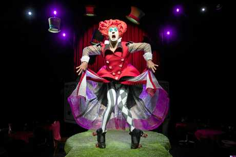 Stuart Christie as the Red Kween in a scene from The Funatorium's Mad Hatter's Tea Party.