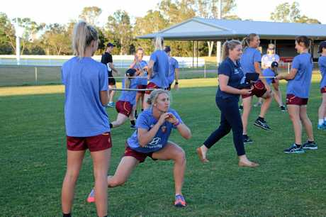 Warwick's Delissa Kimmince trains with the Brisbane Lions women's squad at their first training session in November 2016.