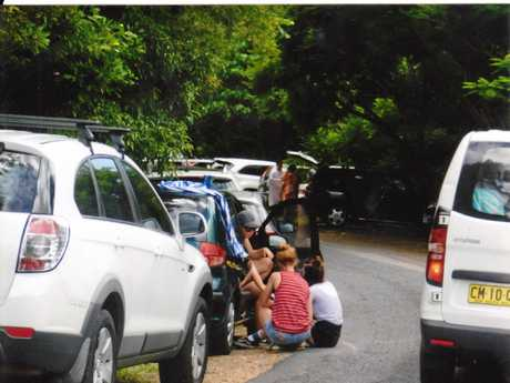 TRAFFIC CHAOS: A typical day in summer at tourist hot spot Killen Falls.
