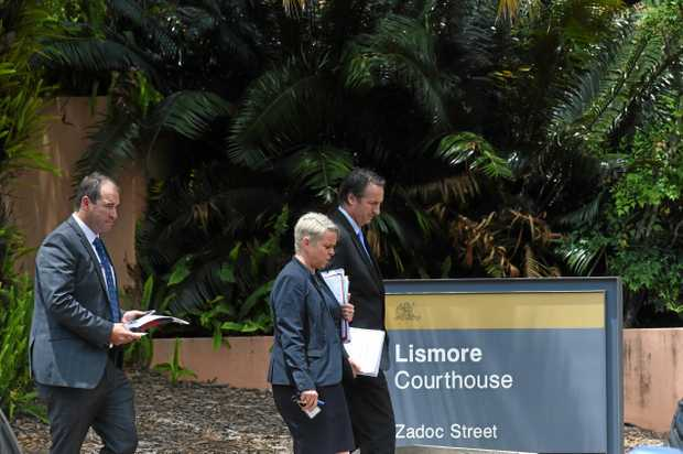 Prosecutors at Lismore Courthouse leave a previous bail hearing for murder accused Javen O'Neill, 24.