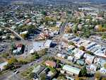 Gympie from the air Five Way's centre of town were gold was discovered by James Nash.