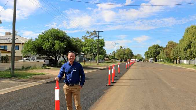 Cr David Schefe is at the helm of multiple waterway projects due to be completed by mid 2018. He is pictured here inspecting the kerb and channel project in Wyndham St .