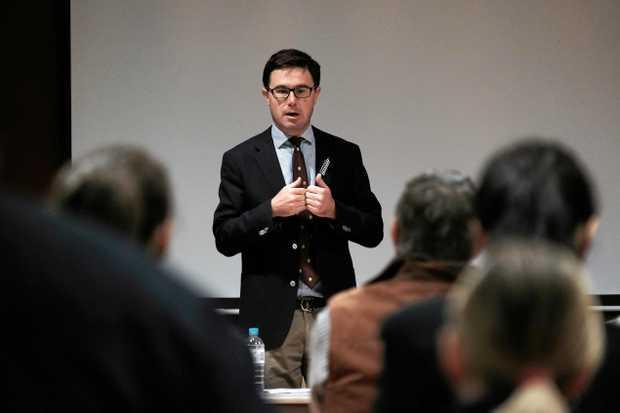 ADVOCACY: Member for Maranoa David Littleproud addresses a community ice forum last year.