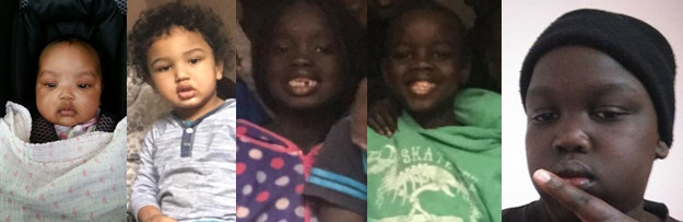 Missing Werribee children (from left) Yar Akot, George Akot, Aliai Bol, Manyang Bol, and Dut Bol.