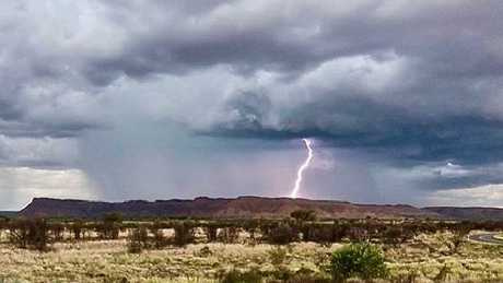 A lightning strike at Kings Canyon. Picture: Davey May