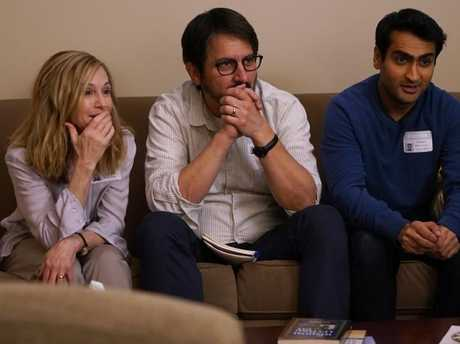 Holly Hunter, seen here in Ray Romano and Kumail Nanjiani, is favourite to win Best Supporting Actress for her role in The Big Sick. Picture: Supplied