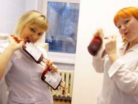 Tatiana Katayeva and Marina Shibanova pretended to drink blood in one social media post. Picture: East2West News