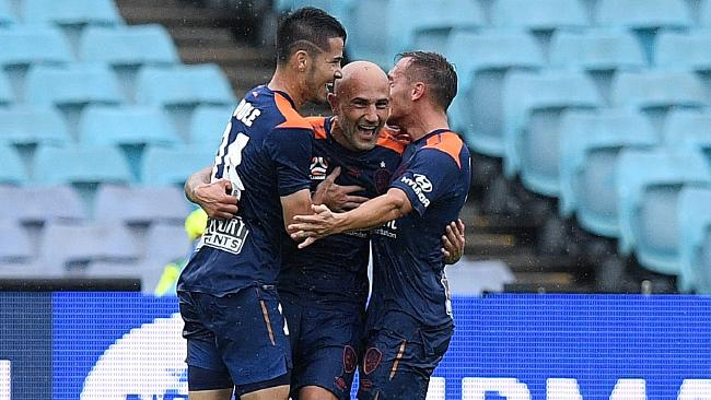 Massimo Maccarone celebrates a goal against the Wanderers in December. Picture: AAP