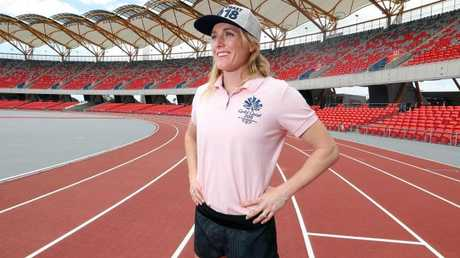 Sally Pearson checks out the new track. Photo by Richard Gosling