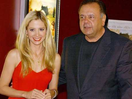 Mira Sorvino and her father, actor Paul Sorvino, in 2002. Picture: Supplied