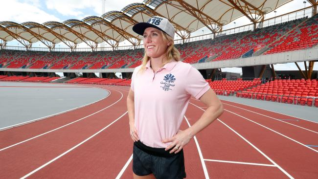 Sally Pearson at the new track. Photo by Richard Gosling