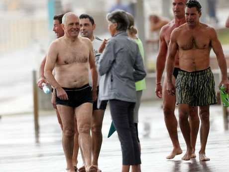 Prime Minister Malcolm Turnbull pictured having a morning swim at Bondi Beach.