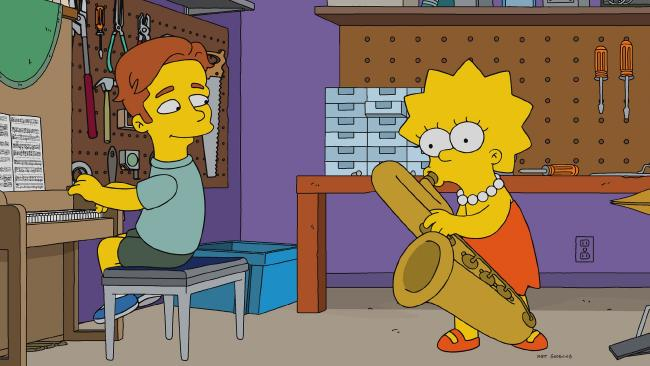 When the Simpsons go to a STEM conference, Lisa falls for a crooning jazz pianist named Brendan (Ed Sheeran). Picture: FOX