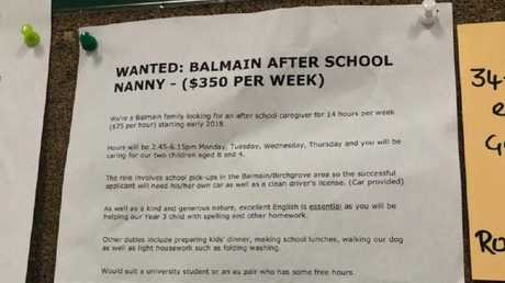 An ad for an after-school nanny posted in Woolworths.