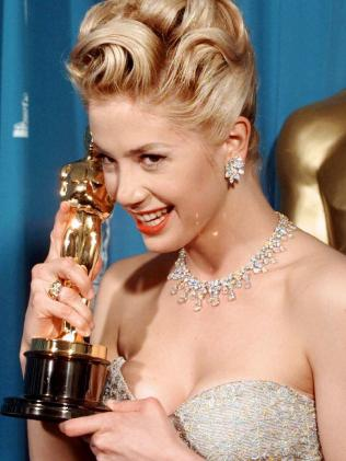 Mira Sorvino with her Best Supporting Actress Oscar for Mighty Aphrodite. Picture: Supplied