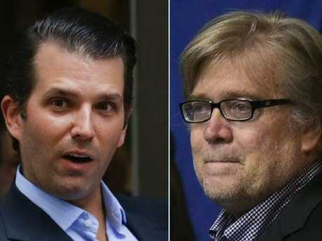 Steve Bannon, right, has taken a swipe at Donald Trump Jr. Picture: Supplied