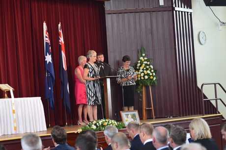 Lady Flo's children John Bjelke-Petersen, Meg Noakes, Helen Folker and Ruth Cummins deliver a eulogy at her state funeral.