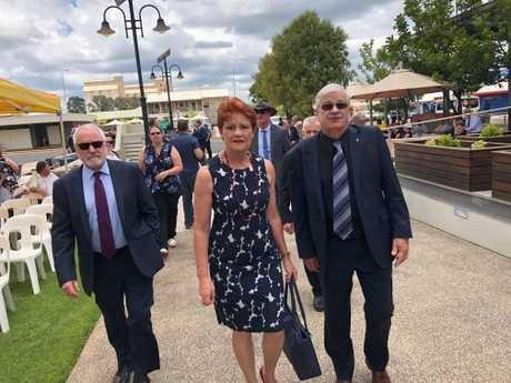 Pauline Hanson arrives at Lady Florence Bjelke-Petersen's state funeral.