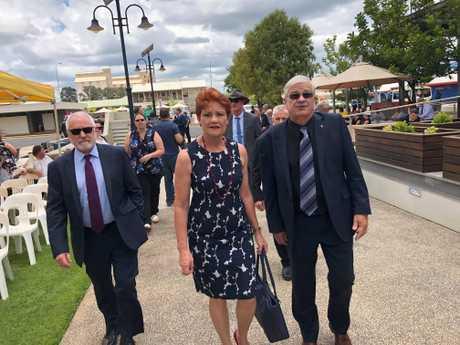Pauline Hanson arrives at Lady Florence Bjelke-Petersen's state funeral.