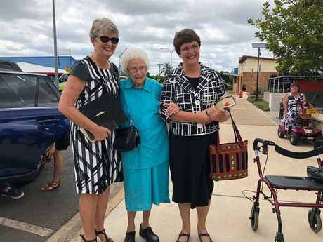 Lady Florence Bjelke-Petersen's daughters, Helen Folker and Meg Noakes with her younger sister, Margaret Gilmour before her state funeral.