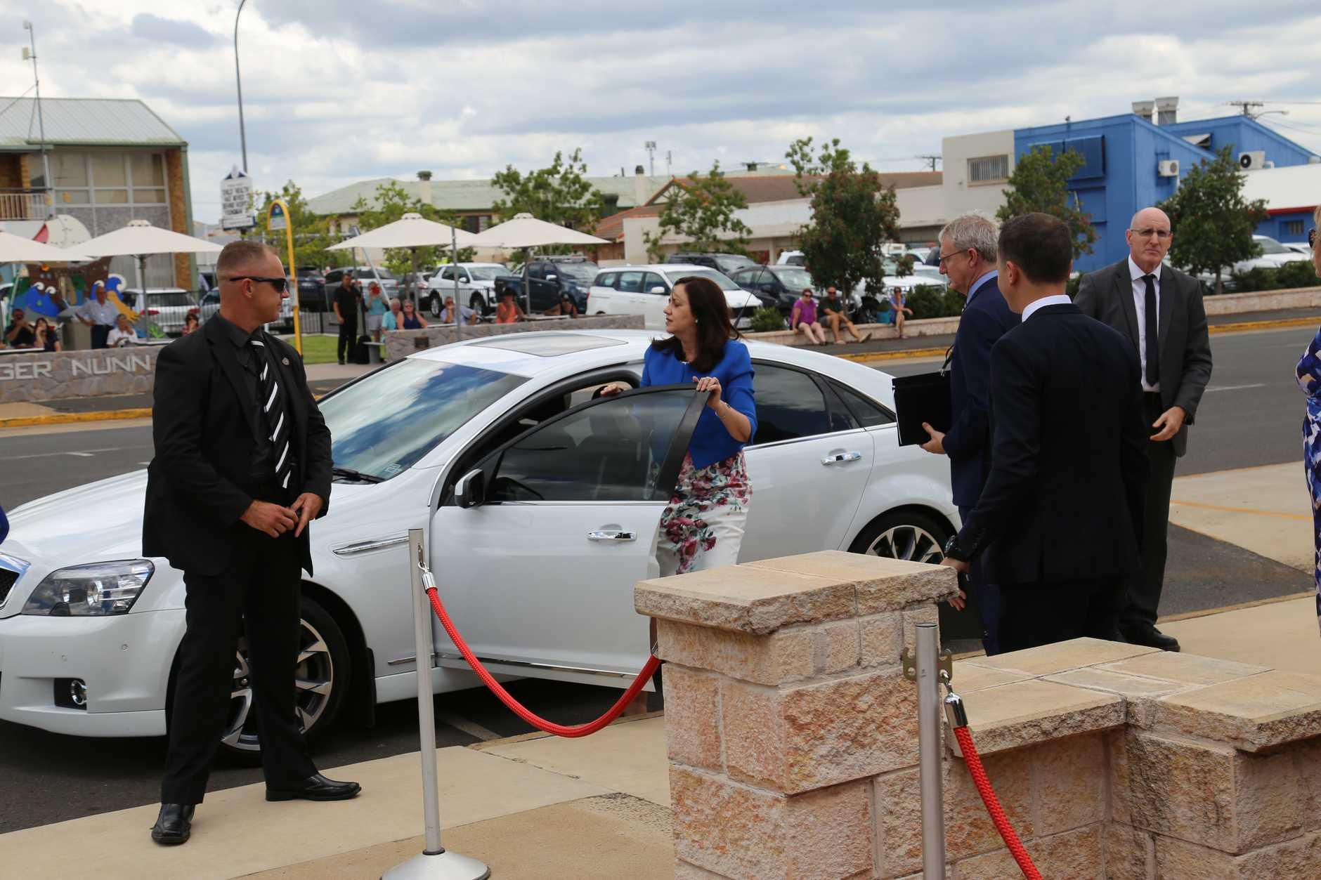 Premier Annastacia Palaszczuk arrives for Lady Flo's state funeral.