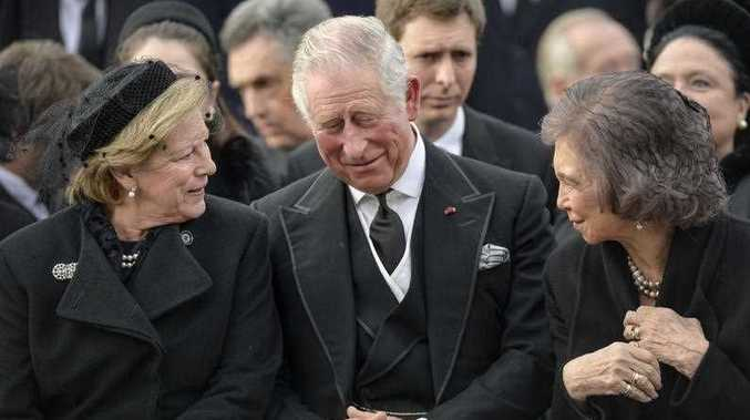 Greece's Queen Anne Marie, left, talks to former Spanish Queen Sofia, right, and Britain's Prince Charles while attending the funeral ceremony in tribute to late Romanian King Michael in Bucharest, Romania.