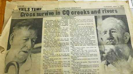 Gladstone Observer story from May 5, 1987 regarding crocodile sightings in the Gladstone region. Arthur and Ted Nash.