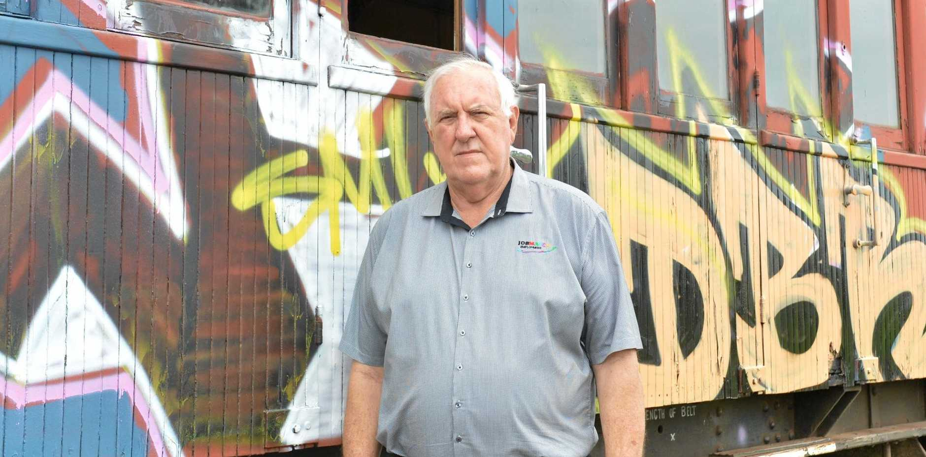 Garry Davison is frustrated by the vandalism which destroyed hundreds of hours of work on the restoration of the Mary Valley Rattler.