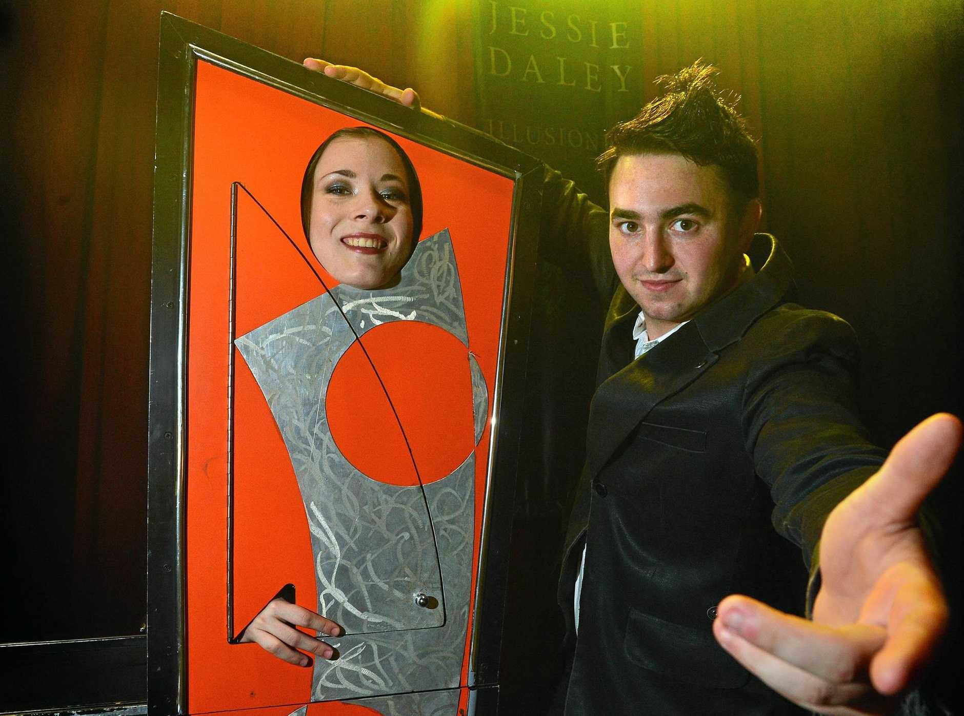 BE AMAZED: Illusionist Jessie Daley creates his magic at Aussie World with Aimee Percival.