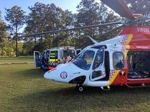 Two vehicle crash on bushland track, passenger airlifted