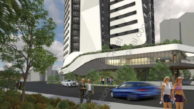 Artist impressions of a proposed Retirement Tower planned for a Frank St site in Labrador.