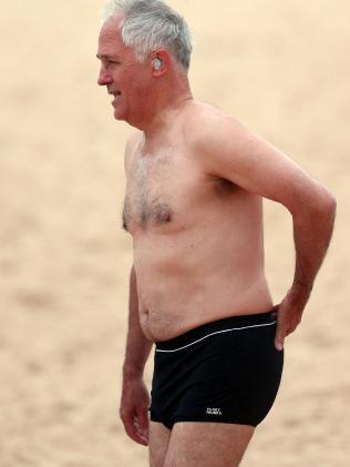 Prime Minister Malcolm Turnbull hit up Bondi Beach. Picture: Matrix