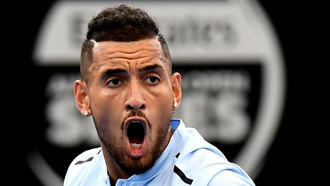 BRISBANE, AUSTRALIA — JANUARY 05: Nick Kyrgios of Australia celebrates in his match against Alexandr Dolgopolov of Ukraine during day six of the 2018 Brisbane International at Pat Rafter Arena on January 5, 2018 in Brisbane, Australia. (Photo by Bradley Kanaris/Getty Images)