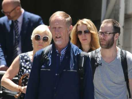 The parents of Pilot Gareth Morgan Dudley and Orlis Morgan arrive with other family members. Picture: John Grainger