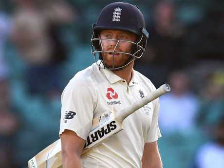 England batsman Jonny Bairstow walks off after being dismissed.