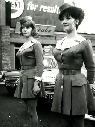 Amanda Barrie (right) in the 1963 film Carry On Cabby. Picture: Supplied