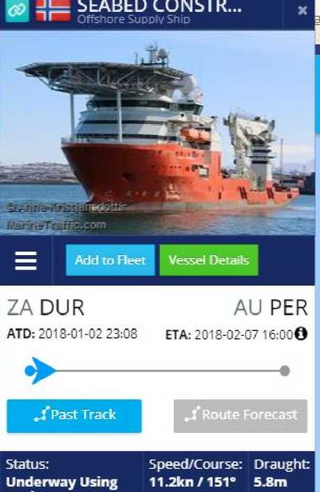 The Seabed Constructor is expected to dock at Perth on February 7 but will enter the new search zone around January 17. Picture: MarineTraffic.com