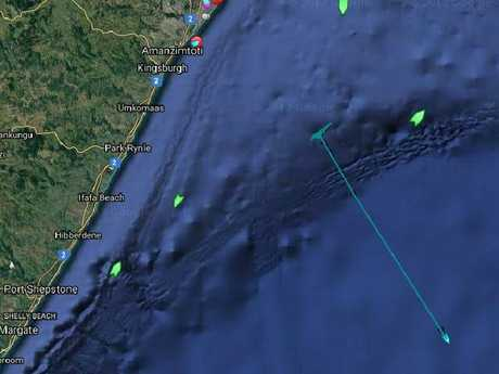 Seabed Constructor tested out its equipment in waters off South Africa on Thursday before resuming its journey to Perth. Its progress is marked by the blue line on the map. Picture: MarineTraffic.com