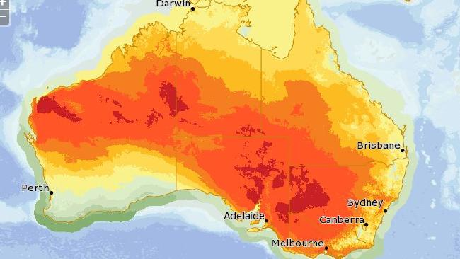 An intense heatwave is moving over Australia this weekend. Source: Bureau of Meteorology