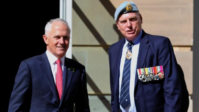 PM Malcolm Turnbull and Jim Molan at the Australian War Memorial in Canberra. Picture Ray Strange