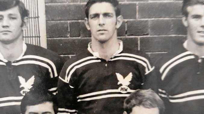 John Strong (rear, centre) during his time in the Manly Sea Eagles in the 1960s.